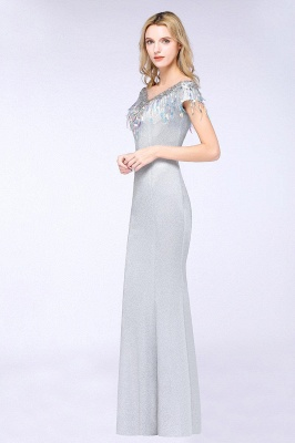 Elegant Jewel Short Sleeves Sequins Evening Dress with Tassels in Stock_4