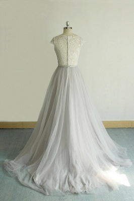 Unique V-neck Appliques Tulle Wedding Dress | Ruffles Shortsleeves A-line Bridal Gowns_3