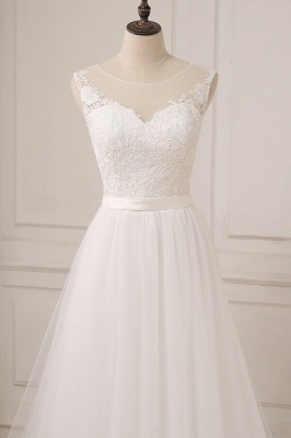 Glamorous Tulle Sleeveless Jewel Wedding Dress | White A-line Appliques Bridal Gowns_5