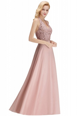 A-line Halter Chiffon Lace Bridesmaid Dress with Beadings On Sale_24