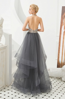 Stylish Halter Beaded Tiered Blackless Tulle Prom Dress_5