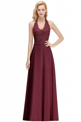 A-line Halter Chiffon Lace Bridesmaid Dress with Beadings On Sale_13