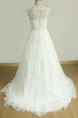 Glamorous Sleeveless Appliques Tulle Wedding Dress | A-line Lace Straps Bridal Gowns_3