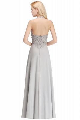 A-line Halter Chiffon Lace Bridesmaid Dress with Beadings On Sale_21