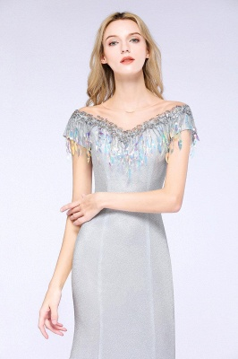 Elegant Jewel Short Sleeves Sequins Evening Dress with Tassels in Stock_6