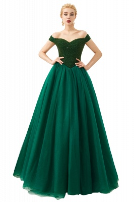 Princess Off-the-Shoulder Prom Dress | Beadings Sweetheart Ball Gown Evening Gowns_4