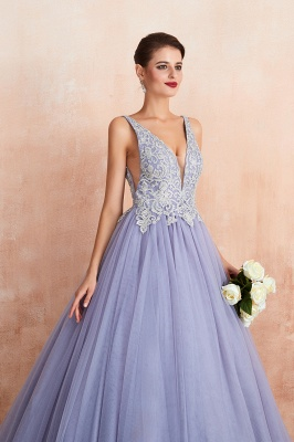 Gorgeous Lavender Lace Prom Dress | V-Neck Ball Gown Tulle Formal Wears_9