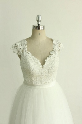 Stylish White Tulle Lace Wedding Dress | Appliques A-line Ruffles Bridal Gowns_4