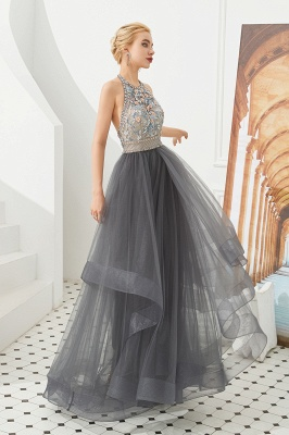 Stylish Halter Beaded Tiered Blackless Tulle Prom Dress_6