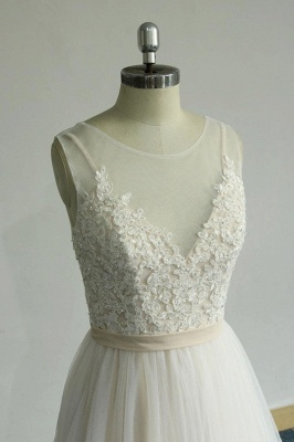 Chic Straps Sleeveless Appliques Wedding Dress | A-line Tulle White Bridal Gowns_5