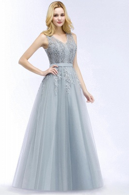 Stylish V-neck Tulle Lace Long Evening Dress in Stock_3
