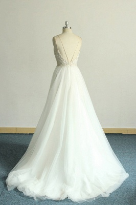 Gorgeous A-line White Lace Tulle Wedding Dress | Sleeveless Appliques Bridal Gowns_3