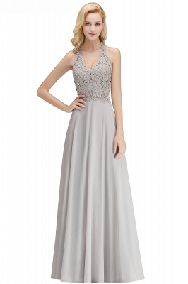 A-line Halter Chiffon Lace Bridesmaid Dress with Beadings On Sale_20