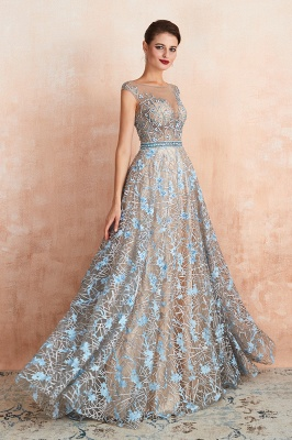 Designer Cap Sleeves Crystal Long Prom Dress With Blue Appliques_5