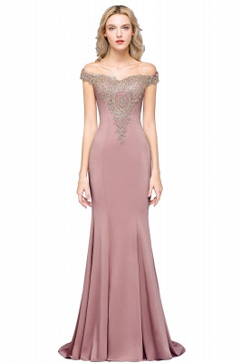 Elegant Off-the-Shoulder Mermaid Prom Dress Long With Lace Appliques_1