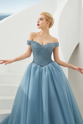 Princess Off-the-Shoulder Prom Dress | Beadings Sweetheart Ball Gown Evening Gowns_21