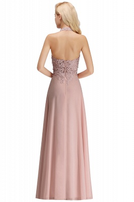 A-line Halter Chiffon Lace Bridesmaid Dress with Beadings On Sale_31