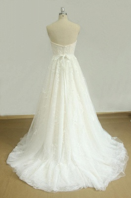 Elegant Strapless Lace Tulle Wedding Dress | Appliques White A-line Bridal Gowns_3