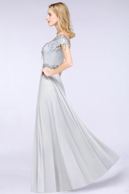 A-line Jewel Short Sleeves Sequins Evening Dress with Tassels in Stock_5