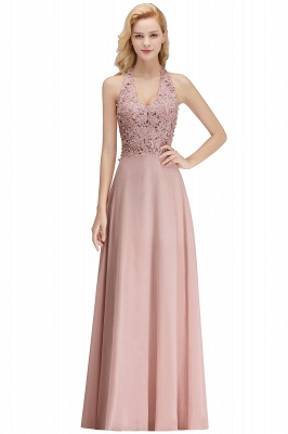 A-line Halter Chiffon Lace Bridesmaid Dress with Beadings On Sale_25