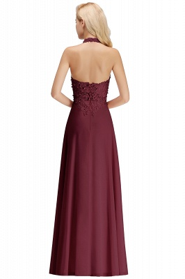 A-line Halter Chiffon Lace Bridesmaid Dress with Beadings On Sale_32