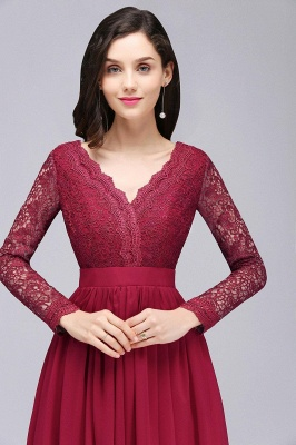 Elegant A-line Chiffon Lace Long Sleeves Evening Dress in Stock_7