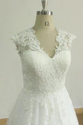 Glamorous Sleeveless Appliques Tulle Wedding Dress | A-line Lace Straps Bridal Gowns_4