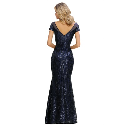 Navy Short Sleeve Sequins Prom Dress | Mermaid Long Evening Gowns_14