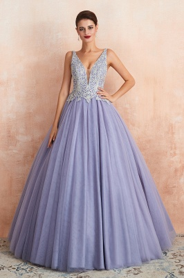 Gorgeous Lavender Lace Prom Dress | V-Neck Ball Gown Tulle Formal Wears_7