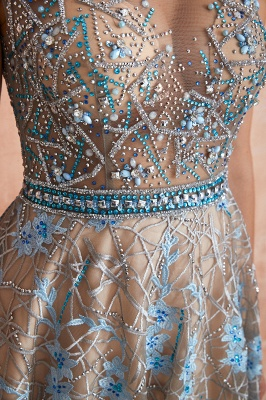 Designer Cap Sleeves Crystal Long Prom Dress With Blue Appliques_8