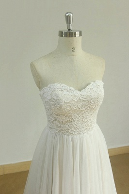 Sexy Sweetheart White Tulle Wedding Dress | Lace A-line Ruffles Bridal Gowns_4
