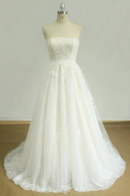 Elegant Strapless Lace Tulle Wedding Dress | Appliques White A-line Bridal Gowns_1
