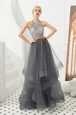 Stylish Halter Beaded Tiered Blackless Tulle Prom Dress_2