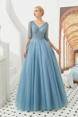 Dusty Blue V-Neck Half-Sleeve Prom Dress Long With Beadings Lace-up_2