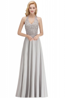 A-line Halter Chiffon Lace Bridesmaid Dress with Beadings On Sale_5