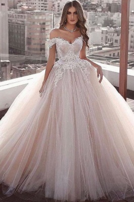 Off The Shoulder Tulle Ball Gown Wedding Dresses | Lace Appliques Champagne Pink Bridal Gowns_1