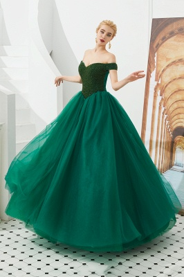 Princess Off-the-Shoulder Prom Dress | Beadings Sweetheart Ball Gown Evening Gowns_19
