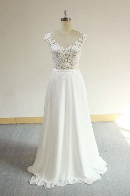 Sexy V-neck Appliques Sleeveless Wedding Dress | A-line Chiffon White Bridal Gown