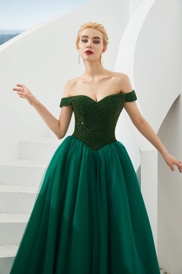 Princess Off-the-Shoulder Prom Dress | Beadings Sweetheart Ball Gown Evening Gowns_9