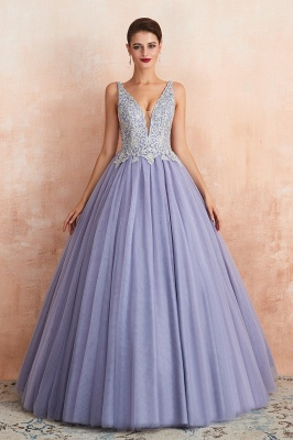 Gorgeous Lavender Lace Prom Dress | V-Neck Ball Gown Tulle Formal Wears_4