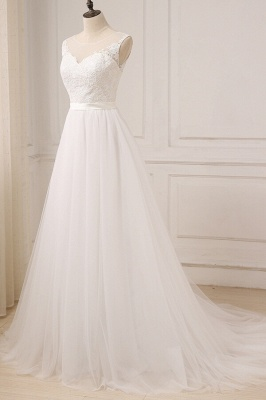 Glamorous Tulle Sleeveless Jewel Wedding Dress | White A-line Appliques Bridal Gowns_4