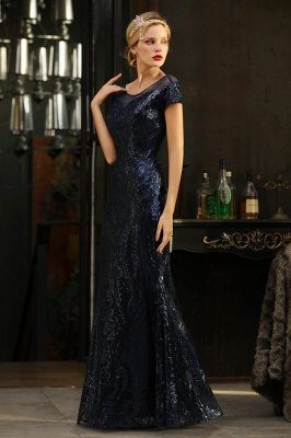 Navy Short Sleeve Sequins Prom Dress | Mermaid Long Evening Gowns_6