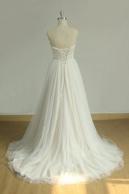 Chic Sweetheart Lace Wedding Dress | White Tulle Ruffles Bridal Gowns_3