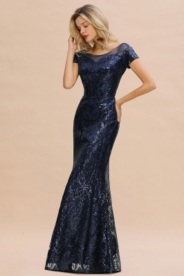 Navy Short Sleeve Sequins Prom Dress | Mermaid Long Evening Gowns_10
