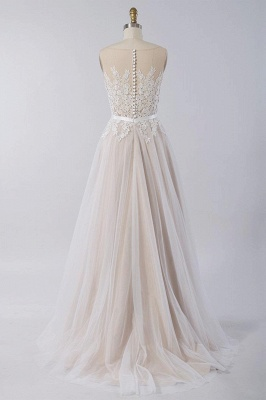 Affordable Sleeveless Jewel Appliques Wedding Dress | Tulle Ruffles A-line Bridal Gowns_3