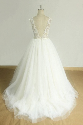 Chic V-neck Straps Tulle Wedding Dress | A-line Appliques Sleeveless Bridal Gowns_3