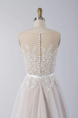 Affordable Sleeveless Jewel Appliques Wedding Dress | Tulle Ruffles A-line Bridal Gowns_5