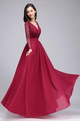 Elegant A-line Chiffon Lace Long Sleeves Evening Dress in Stock_5