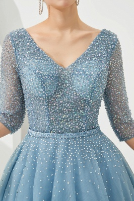 Dusty Blue V-Neck Half-Sleeve Prom Dress Long With Beadings Lace-up_9