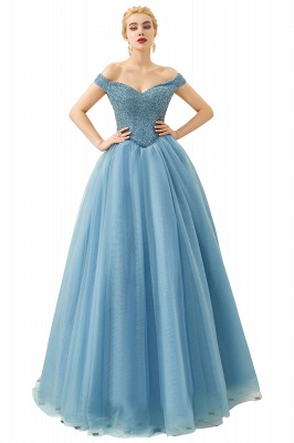 Princess Off-the-Shoulder Prom Dress | Beadings Sweetheart Ball Gown Evening Gowns_5
